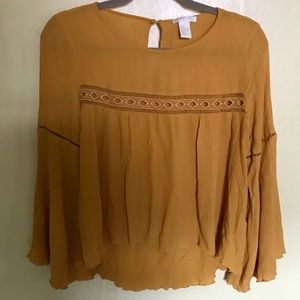 H&M long sleeve Mustard Yellow Blouse Size:8